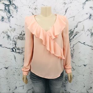 Suzy Shier Ruffled Long Sleeve Blouse Pale Pink